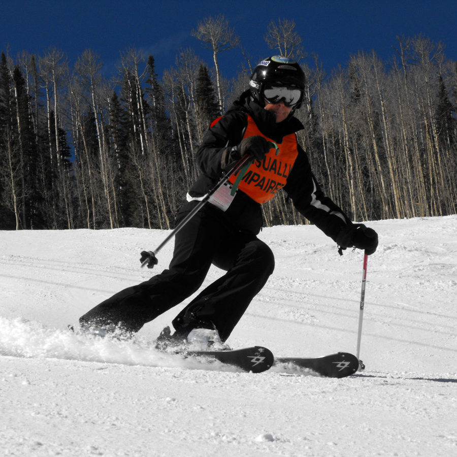 Luanne making turns on the hill